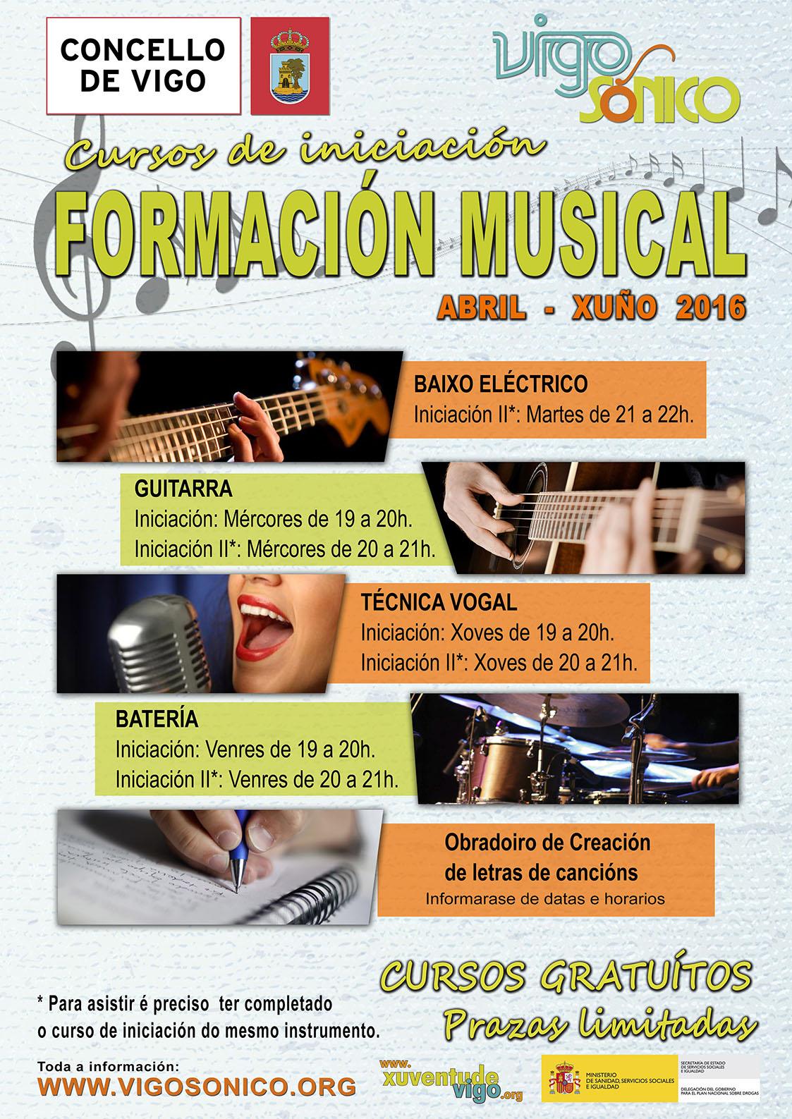 Cursos de Formación Musical: trimestre abril a xuño2016.