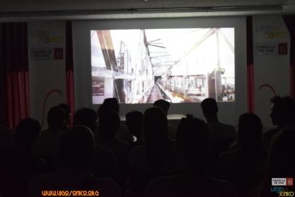 Momento da proxección dos videoclips gañadores.