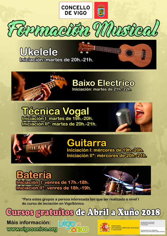 Cursos de Formación Musical: de abril a xuño2018.